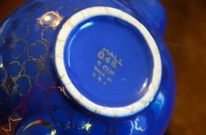Vintage Cobalt Blue Hall China 5 Cup Teapot Serving Piece Gilded Gold Flowers