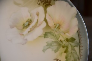 "Antique RS Prussia White Poppy 8"" Plate Dish Dishes Germany R.S. Poppies Flower Porcelain Fine China"