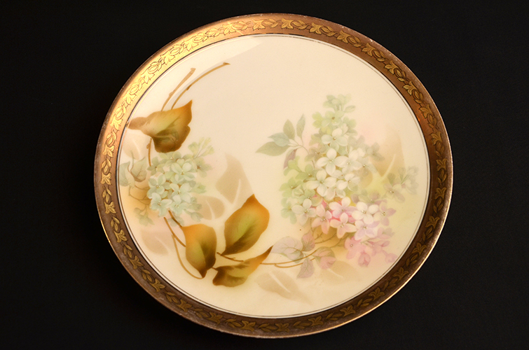 R S Prussia German Fine China Porcelain Plate Hand-Painted Lilac of Made in Germany
