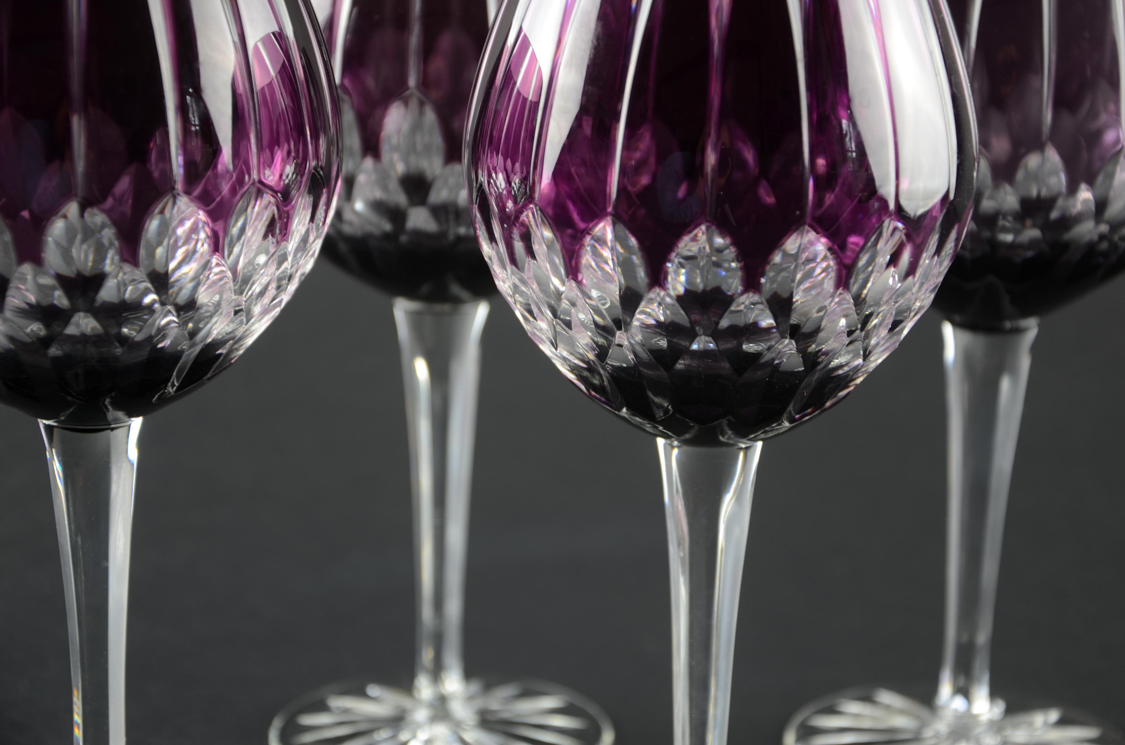e7b149d881f Ajka Castille Cut to Clear Lead Crystal Wine Glass Purple Amethyst Hungary  Cased ...