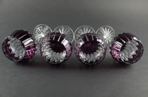 Ajka Castille Cut to Clear Lead Crystal Wine Glass Purple Amethyst Hungary Cased