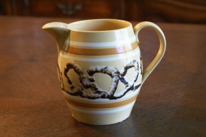 Antique Mochaware Pitcher Banded Snail Trail Earthworm Pattern Mocha Ware, right