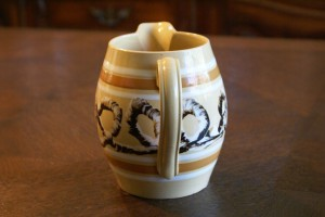 Antique Mochaware Ceramic Pitcher Banded Snail Trail Earthworm Pattern, back