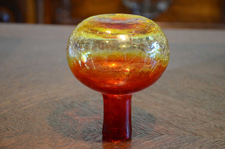 Colored Crackle Glass Red Yellow Shabby Chic Bud Vase Vintage Two-Tone