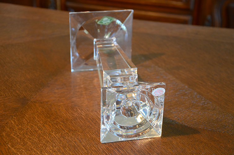 Shannon 24% Lead Crystal Clear Glass Pillar Candle Holders Thick Heavy Set of 3 Three