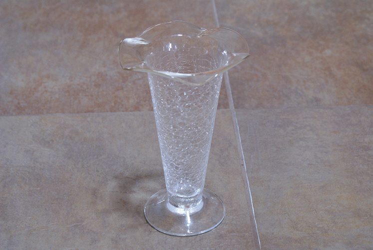 Vintage Clear Crackle Glass Ruffle Top Tall Vase Flower Shabby Chic