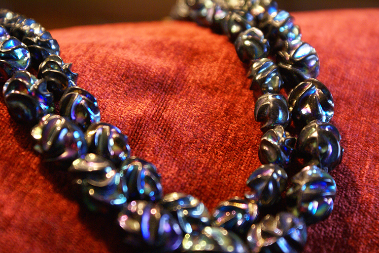 Vintage Costume Jewelry Chunky Lucite Plastic Black Iridescent Bead Necklace Made in West Germany