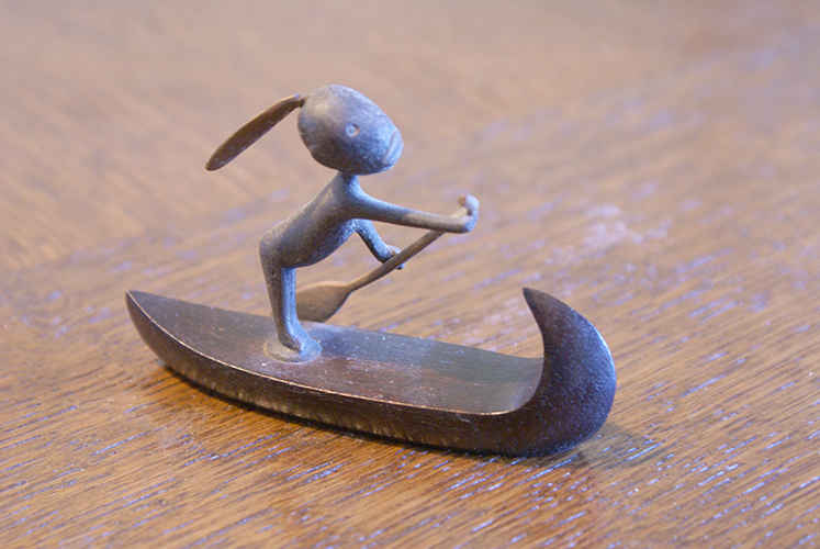 Vintage Austrian Art Deco Hagenauer Bronze Figurines Man in a Canoe Made Austria Sculpture