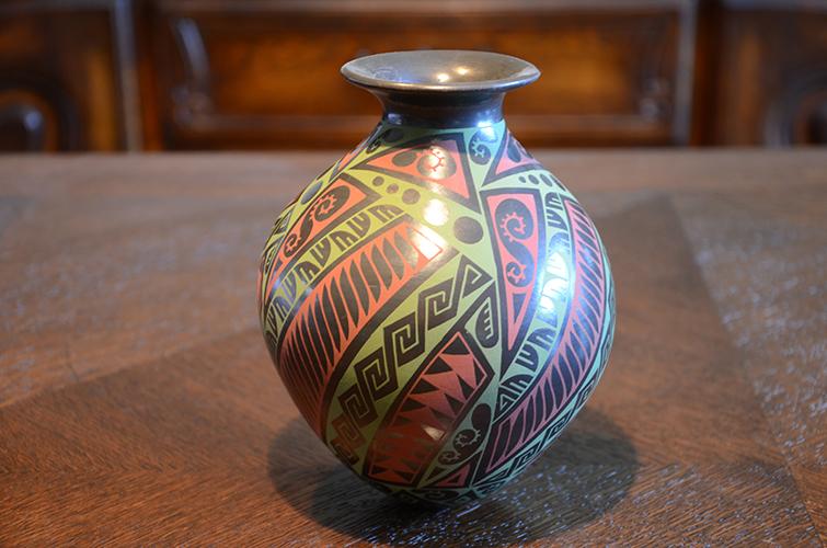 Mexican Mata Ortiz Clay Pottery Vase by Gerardo Mora Tena Black Red Green Geometric Design Pattern
