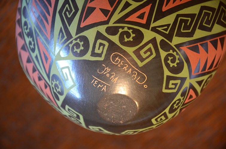 Mexican Mata Ortiz Clay Pottery Vase by Gerardo Mora Tena Black Red Green Geometric Design Pattern