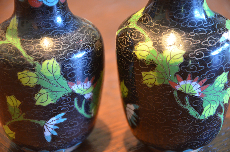 Chinese Cloissone Vase Hand-Painted Enamel on Metal Set Pair of Vases Lotus Flower Floral China