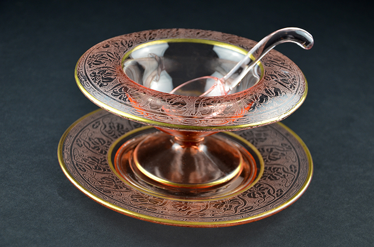 Vintage American Depression Glass Pink Etched Mayo Bowl with Dish Plate and Ladle