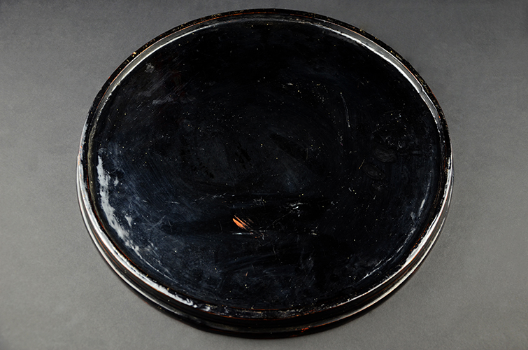 Vintage Japanese Red and Black Laquer Round Serving Platter Tray with Zodiac Design Asian Art