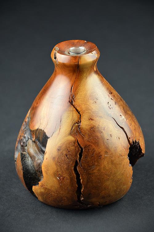 Burlwood Natural Solid Knotty Wood Bud Vase Drift Vintage Mid-Century Home Decor