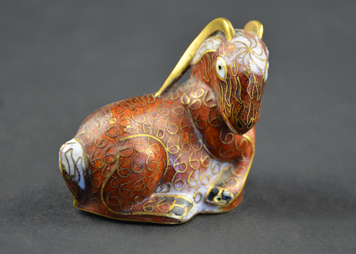 Chinese Cloissone Figurine Hand-Painted Enamel on Metal Goat Sheep Ram China