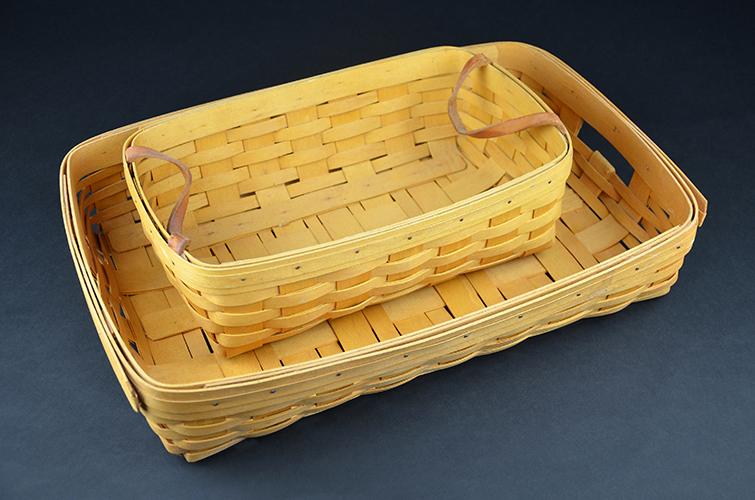 American Longaberger Hand-Woven Wooden Baskets Double Handle Set Pair of 1998 1999
