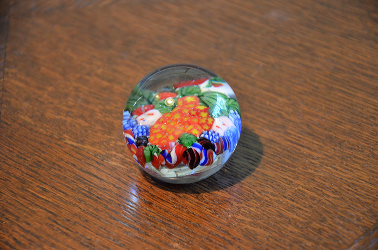 Vintage Colorful Millefiori Glass Paperweight Round Solid Floral Flowers