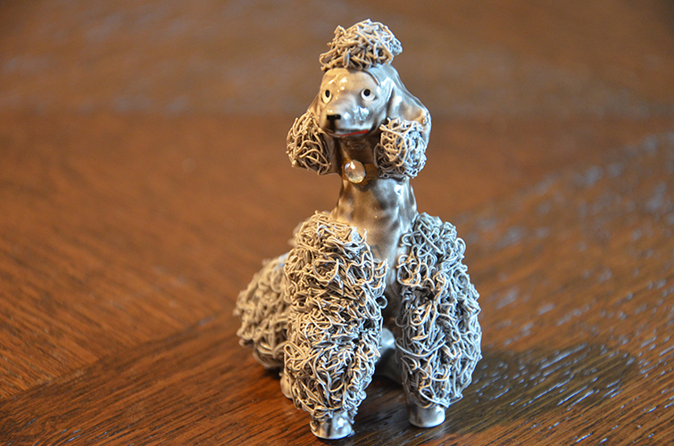 Vintage Ceramic Spaghetti Ware Poodle Figurines Dog Animal Made in Japan 1950s