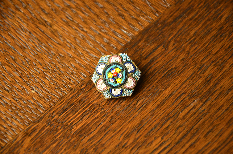 Vintage Close-Packed Colorful Italian Millefiori Glass Women's Jewelry Pin Broach Made in Italy