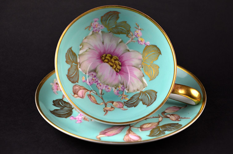 German Bavaria Porcelain Fine China Peony Cup & Saucer and Plate Gold Gilding Made in German