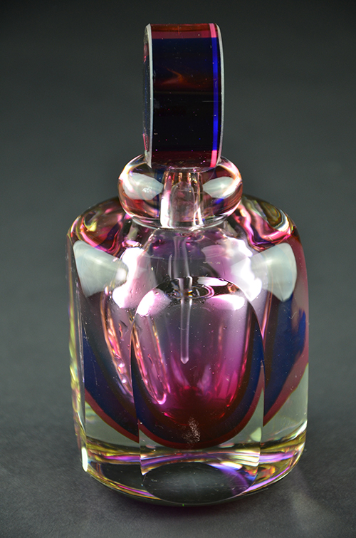 Colorful Italian Murano Glass Perfume Bottle Red Pink Purple Cobalt Blue Round Made in Italy