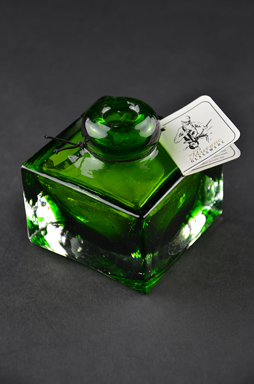 Colorful Italian Murano Glass Perfume Bottle Hunter Emerald Green Square Made in Italy