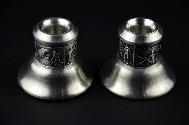 Norwegian Tinn Pewter Groenlandica Metalware Taper Candle Holders Made in Norway