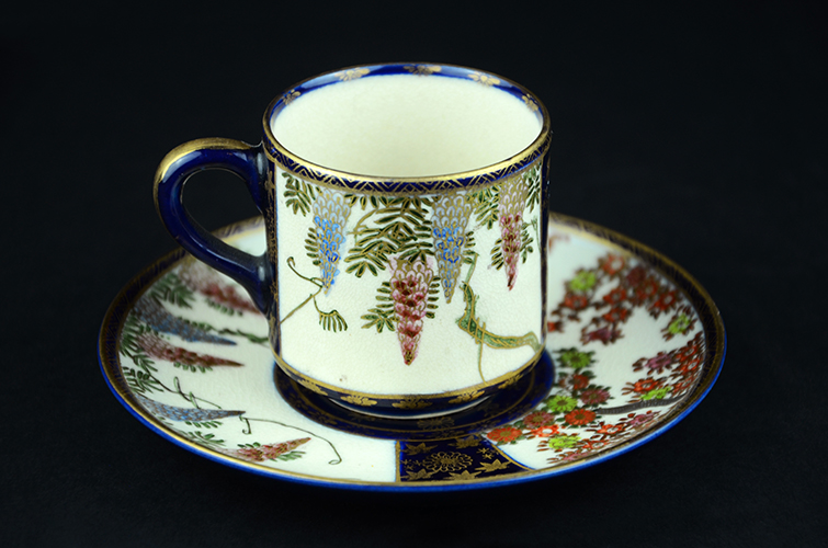 Antique Satsuma Pottery Japanese Porcelain Fine China Wisteria Cherry Blossoms Cup & Saucer Made in Japan
