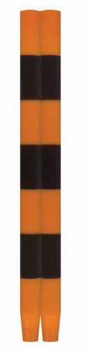 Ana Candles Pair of Striped Tapers Black Orange Halloween Paraffin Wax Burning Party Holiday