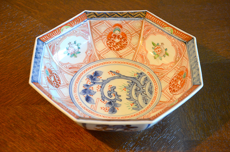 Antique Vintage Japanese Hexagon Round Hand Painted Ceramic Serving Bowl Blue Red Rust
